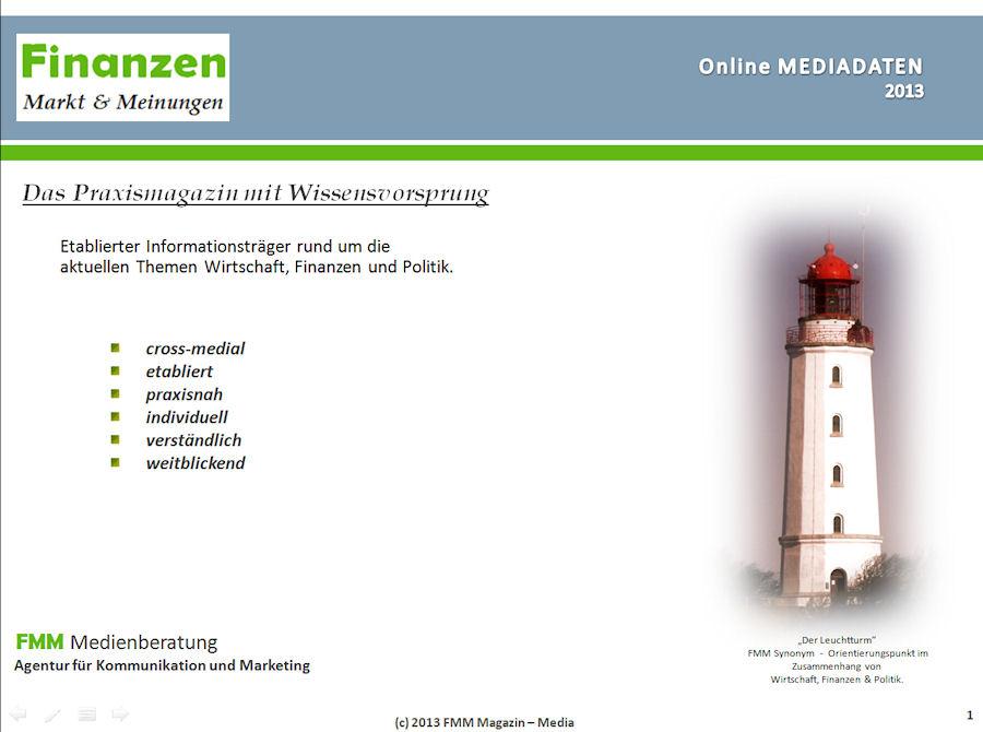 FMM-Magazin.de - B2B Online-Magazin, 1. Seite der Mediadaten