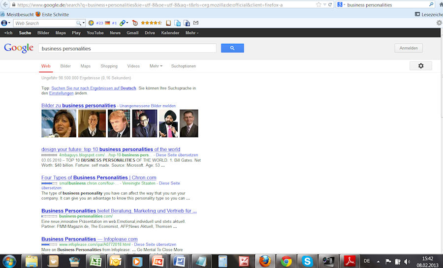 Google Ergebnisse zu Business Personalities
