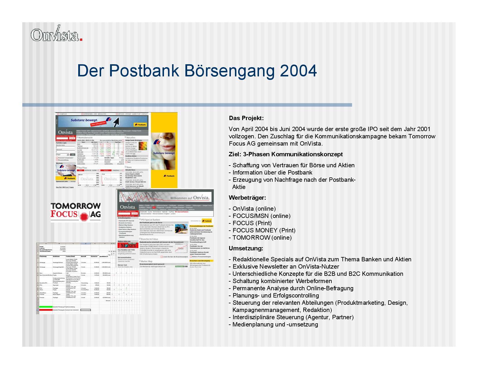 Eine Präsentationsseite vom Postbank Börsengang 2004